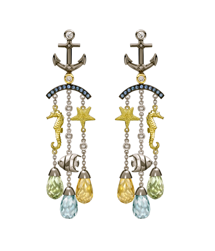 CITRINE, TOPAZ AND TOURMALINE AQUATIC CHANDELIER EARRINGS
