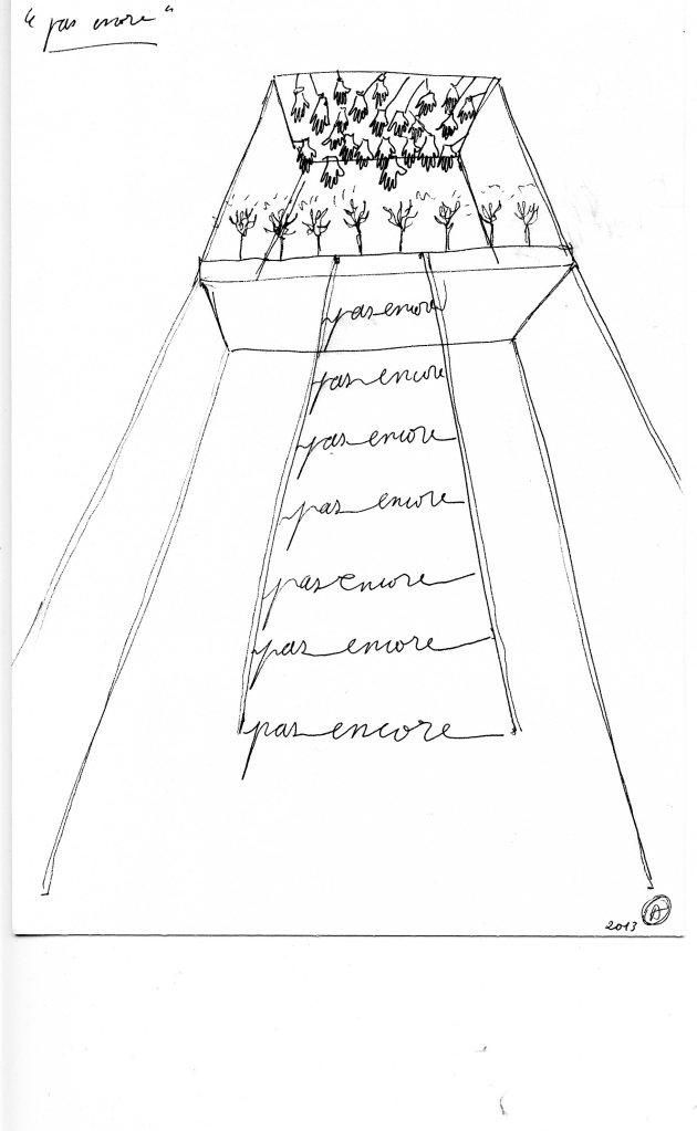 Art Orienté Objet. Croquis pré-visionnaire. 2013. Stylo sur papier. 15x21 cm. © Art Orienté Objet (Marion Laval-Jeantet et Benoît Mangin).