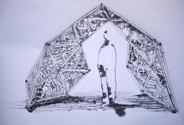 Charley Case. Cosmic Logde, projet pour l'exposition Astralis. 2013. Pyrogravure sur papier. 20x20 cm. © Charley Case.