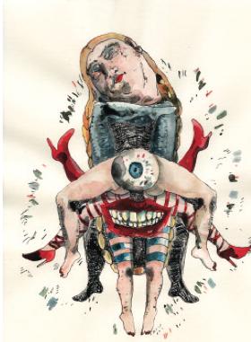 Frédeŕ ique Loutz, Sans titre, 2012, Technique mixte, 29,7 x 21 cm Collection privée Evelyne Deret