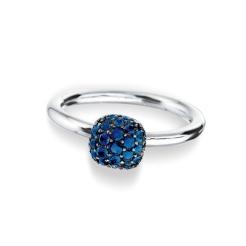 """Bague """" Boule """" or gris 18 carats 35 saphirs bleus : 0,43 carat 870,00 €"""