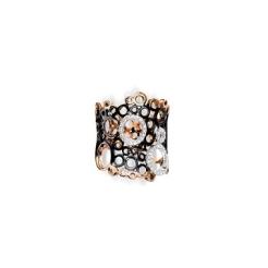 Bague Talento Or rose et or noir 18 carats avec cercles ajourés sertis de diamants (0,49 carat ) 2 470,00 €