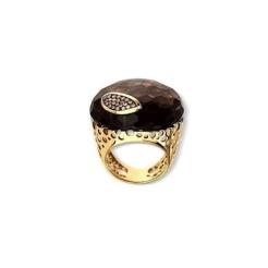 Bague or jaune 18 carats Quartz Fumé ovale et diamants bruns 0,23 carat Poids 11,6 g 2 760,00 €