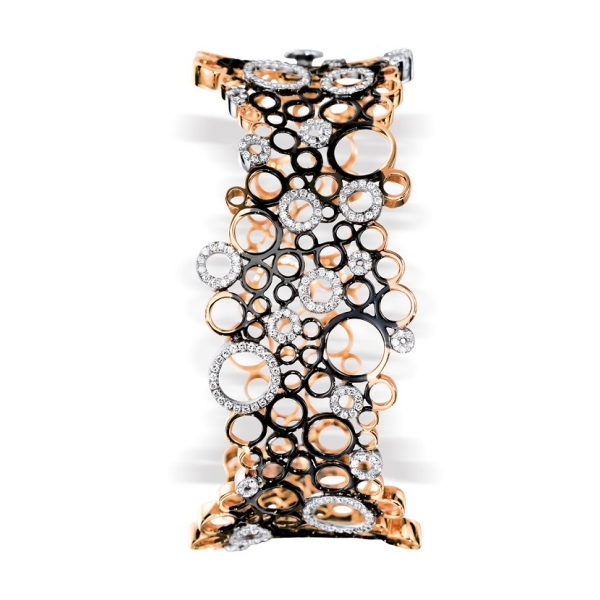 Bracelet Manchette or rose et or noir avec cercles ajourés sertis de diamants ( 1,19 carats ) 8 700,00 €