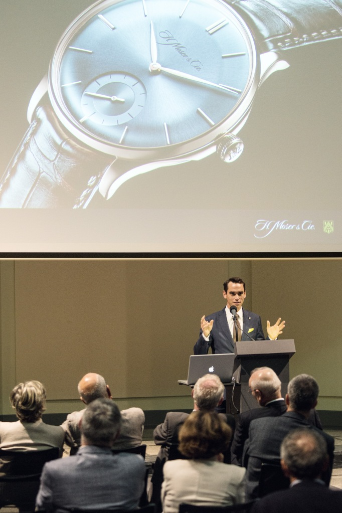 Edouard_Meylan__CEO_of_H._Moser_a_Cie.__during_conference_at_Bernisches_Historisches_Museum